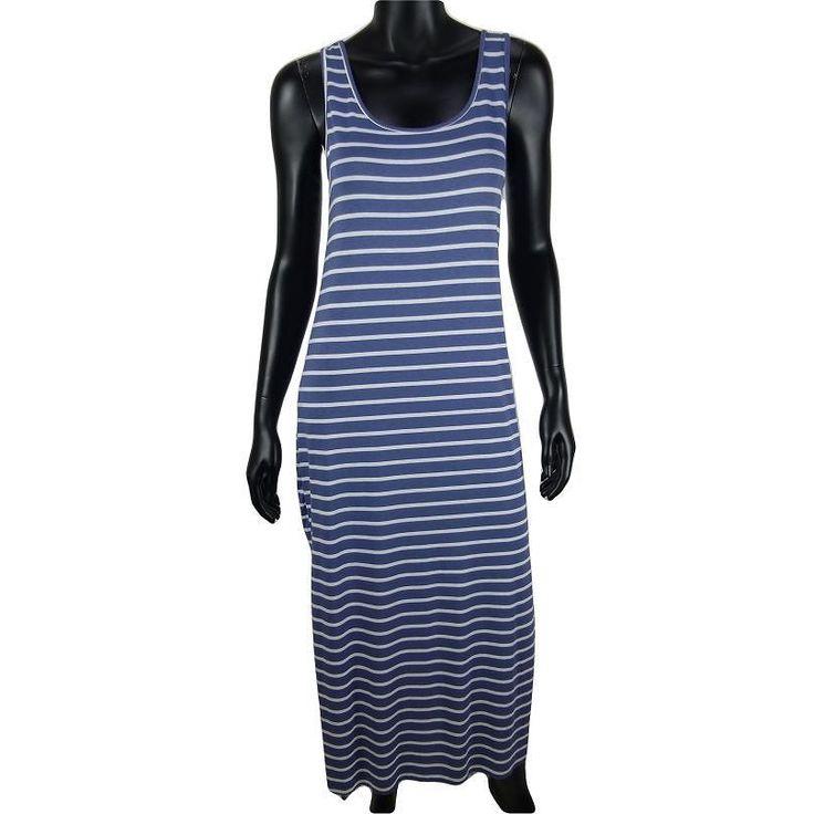 Gestreepte maxi tank jurk met split in blauw  15-   #Beverwijk #Heemskerk #IJmuiden #Velsen #fashion #happy #follow #cute #followme #like #instacool #nofilter #style #sweet #fashionable #hot  #webshop #fashioncheque #vvv #nieuwecollectie
