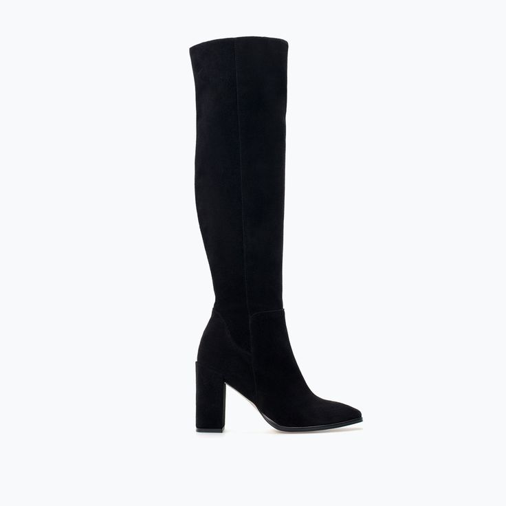 Image 1 of HIGH-HEELED LEATHER BOOT from Zara