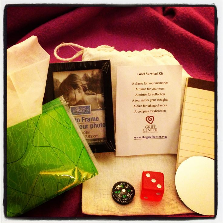 We took this original pin from Pinterest... And turned it into.... Grief Survival Kit The Grief Survival Kits were created to hand out to terminating clients at the end of treatment to remind them ...