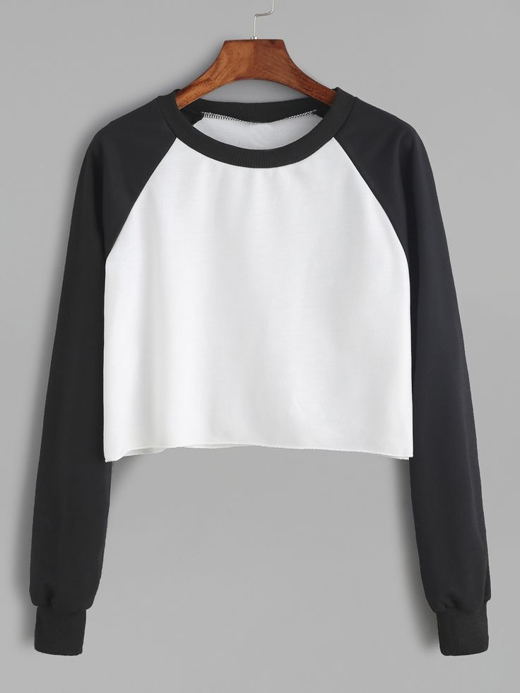 14$ Watch now - http://dix7y.justgood.pw/go.php?t=11938 - Contrast Raglan Sleeve Curved Hem Crop Sweatshirt 14$