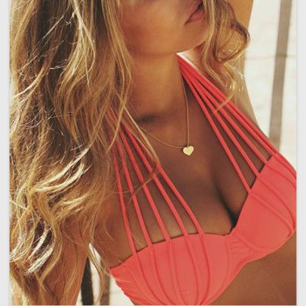 "Cutout straps Push-up Padded cups Available Colors: Coral/Black/White Material: Polyester/Lycra (S) Bust: 33.46"" Hips: 37.40"" (M) Bust: 35.43"" Hips: 39.37"" (L) Bust: 37.40"" Hip: 41.33"""
