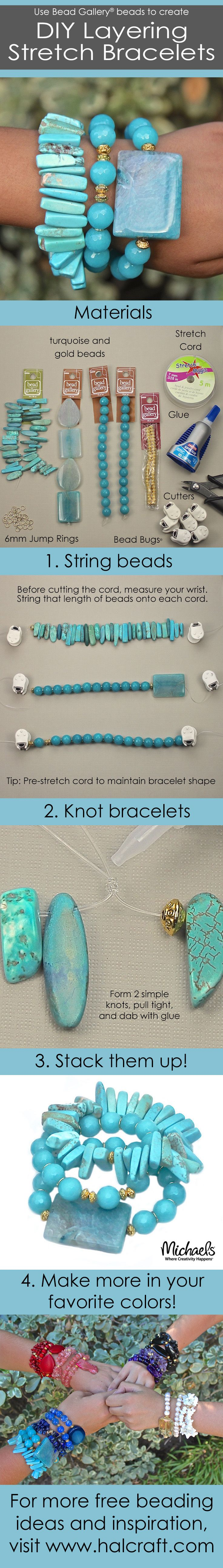 It's so easy to make these DIY Layering Stretch Bracelets, that you'll want to make an armful!