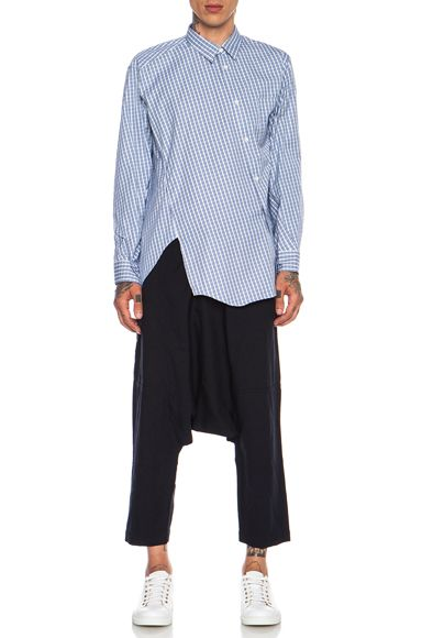 Comme Des Garcons SHIRT Poly Drop Crotch Pant in Navy | FWRD [5]