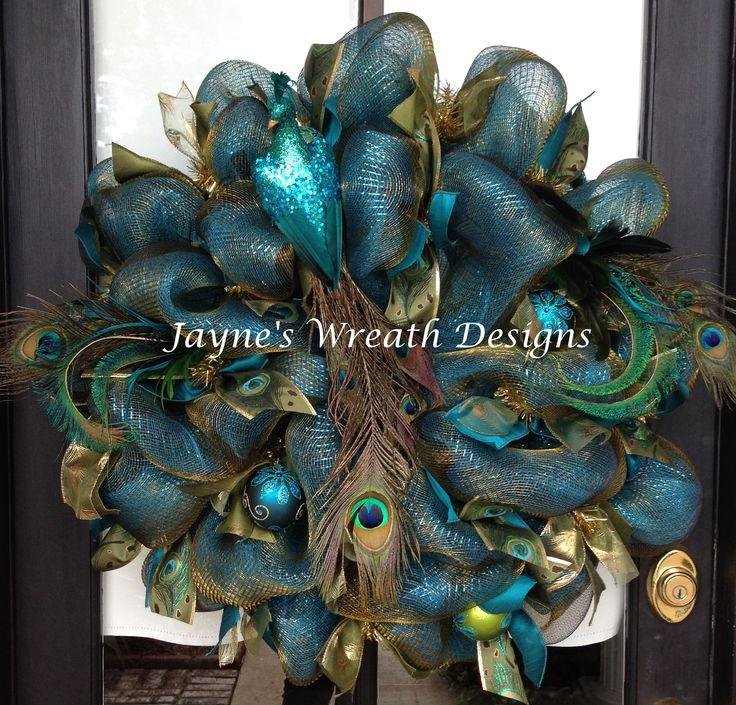 Beautiful Deco Mesh Peacock Wreath. Great for Christmas!