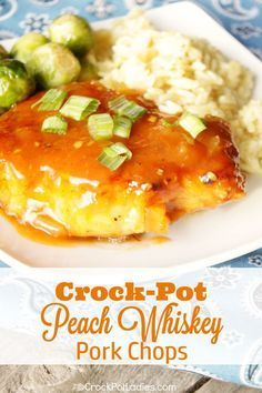 Crock-Pot Peach Whiskey Pork Chops has just 5 ingredients in this easy recipe making it a snap to prepare. Moist and juicy pork chops are slow cooked in a simple peach sauce laced with whiskey! [Low Sodium & Low Fat] #CrockPot #SlowCooker #Recipes #CrockPotLadies