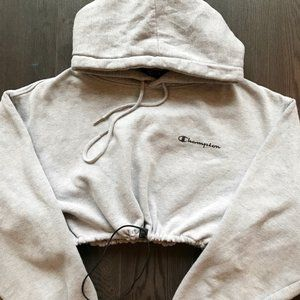 Image of Reworked Champion Crop hoody h.grey