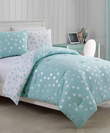 Another great find on #zulily! Metallic Aqua Dotty Comforter Set #zulilyfinds