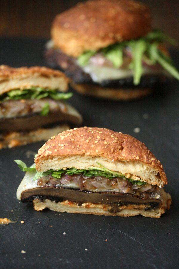 Grilled Portobello Mushroom Burger Recipe with Romesco, Manchego Cheese, and Arugula   Easy Vegetarian Main