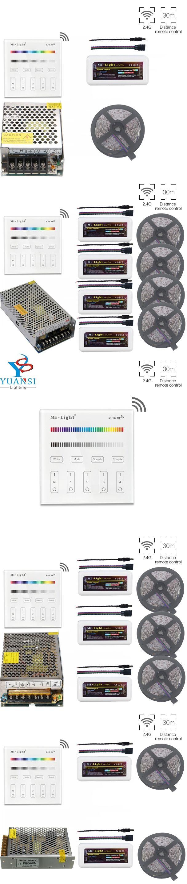 5~20m 5050 RGB Led Strip Light+Mi.Light RGB Led Controller+2.4G B3 Wall Mount Led Touch Panel Remote+12V Led Transformer