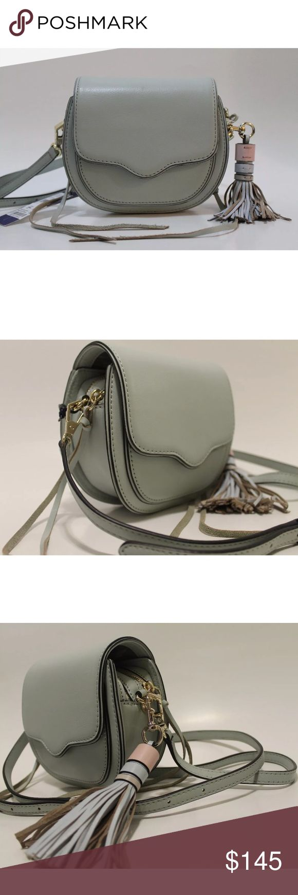 "REBECCA MINKOFF   Mini Sydney Cross Body Bag REBECCA MINKOFF   Mini Sydney Cross Body Bag  100% Authentic  Color: Pale Sage / Light Gold Style: HR25IFCX50 Retail: $225.00  With a darling saddle shape and of-the-moment fringe tassel, Rebecca Minkoff's latest mini crossbody looks fresh for a dressed-up date night or running weekend errands. Adjustable crossbody strap Magnetic flap closure, zip closure; lined Two interior zip compartments, interior slip pocket, exterior slip pocket 7""L x 2""W x…"