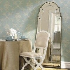 French Blue Damask WallpaperMirrors, Damask Wallpaper, Blue Walls, Dining Chairs, Burlap Crafts, French Country, Parisians Bedrooms, French Blue, Damasks Wallpapers
