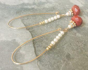 Orecchini a cerchio in oro perle di diaspro e cristallo, orecchini di perle, perle Hoops, Hoops Jasper, Jasper orecchini, orecchini a cerchio in oro