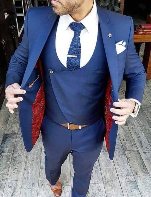 2017 neue Klassischen Stil Smoking Für Männer Groomsmen herren Anzug Schwarz Revers Blau Bräutigam Hochzeit Prom Suits (Jacket + Pants + Weste)