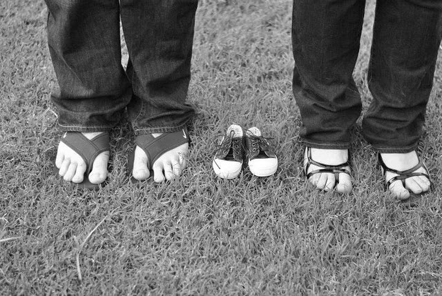 Pregnancy Announcement w/ flip flops since my husband lives in his