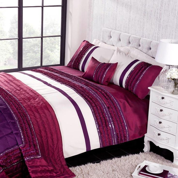 Buy a Glamour Double Duvet Set - Plum from Litecraft, Includes Matching Pillow Cases, Free UK Delivery!
