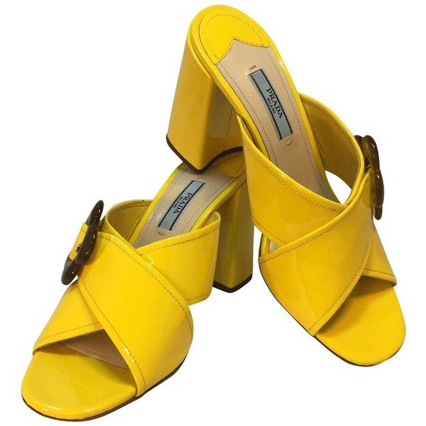 Pre-owned Mules (1.235 RON) ❤ liked on Polyvore featuring shoes, yellow, yellow shoes, mule shoes, prada mules, blossom shoes and blossom footwear