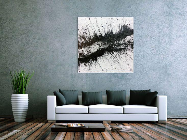 Sehr modernes abstraktes Acrylbild in schwarz weiß minimalistisch 100x100cm von xxl-art.de