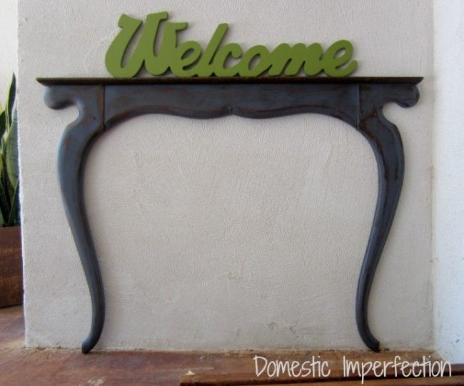 Upcycled Faux Entry Table. From Reused furniture parts!Mirrors, Entry Tables, Creative Ideas, Flats Porches, Upcycling Flats, Diy Projects, Front Porches, Welcome Tables, Porches Entry