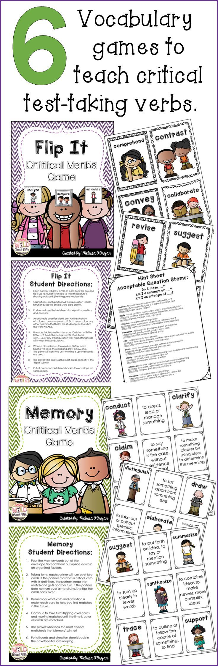 If your students are struggling with understanding the critical verbs in the Common Core Standards this product is a MUST HAVE! These verbs are tricky and students cannot perform well on THE TEST if they don't know what the questions are asking them to do!!! You must expose your students to these critical academic vocabulary words. And what better way to do that then to play fun, engaging vocabulary games!