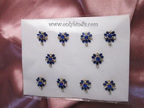 Blue Bindi Jewelry Crystals. Stunning by BindiStoreUSACANADA, $14.99 Nice Floral Blue Bindis.  Bindi Shop in London. Buy bindis in london.