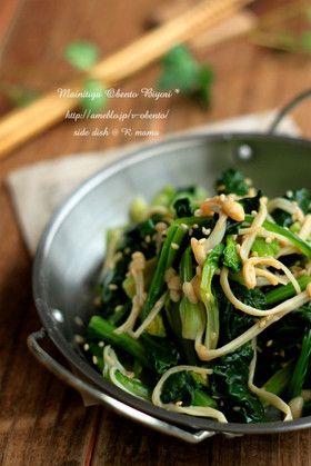 人気の簡単小松菜レシピ♪「小松菜とエノキの辛子醤油和え」