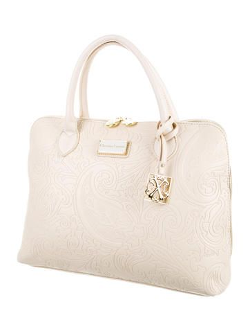 Christian Lacroix Embossed Leather Satchel