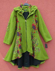 Sarah Santos TRAUMHAFT Winter Mantel Coat L 46 48 Lagenlook 90%Wolle grün | eBay