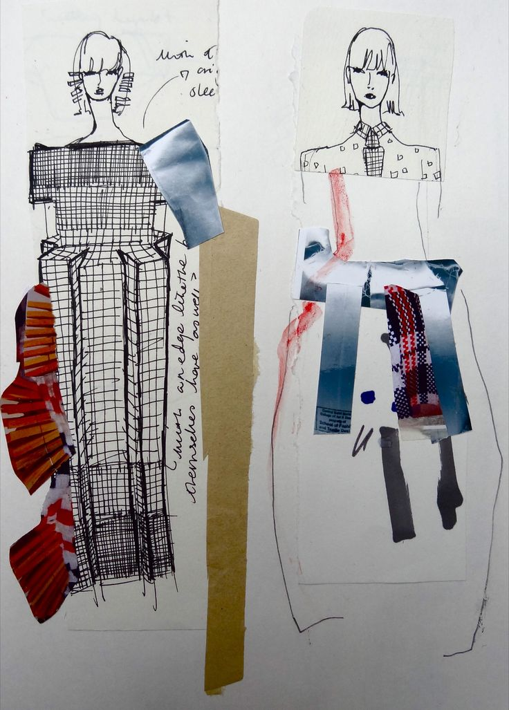 Fashion Sketchbook - fashion design sketches & idea development; creative collage drawings // Hayley Grundmann