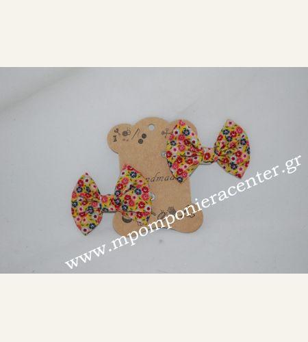 Κοκαλάκι μαλλιών - πιαστράκι με κλίπ & υφασμάτινο φιόγκο λουλούδια floral