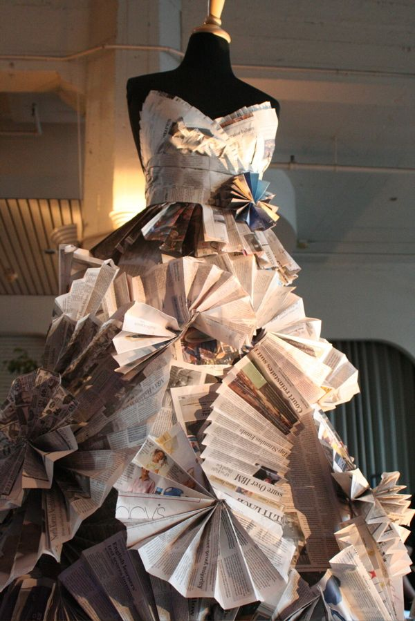 eco-conscious initiative by designer Gary Harvey - Dresses made from recycled newspaper