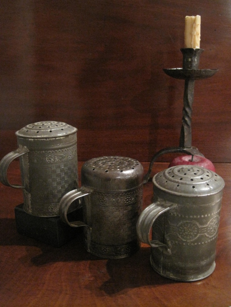Antique 1800s Tin Embossed Muffineers Offerings from North Bayshore Antiques