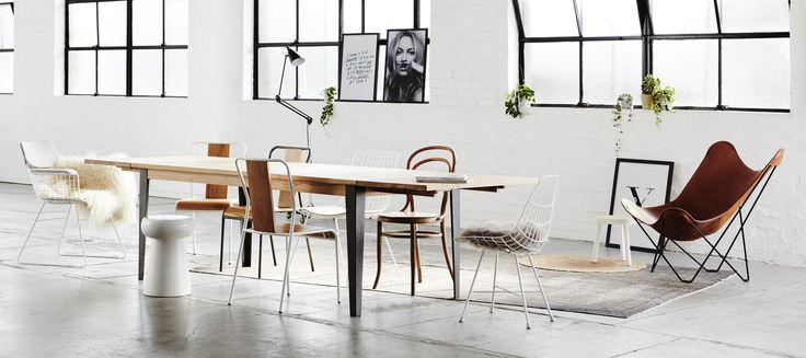 Dining and meeting table & chairs. Merging Industrial and Scandinavian styles. An exclusive range of French designed furniture. With detail to quality materials and finish, the Industrial M furniture range adds a refined industrial edge to residential and commercial interior spaces.