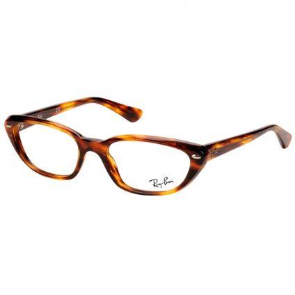 Armação Óculos de Grau Ray Ban RX5242 Acetato Médio Marrom Demi Feminino