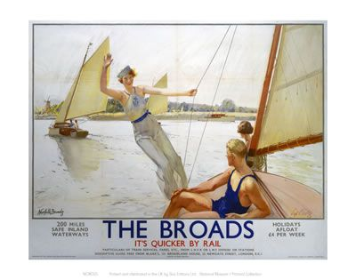 The Norfolk Broads. Vintage Railway Posters. Buy Here: http://www.vintagerailposters.co.uk/Photo/109-The-Broads-Girl-Waiving-from-Boat#.UuaaeRBFCM8