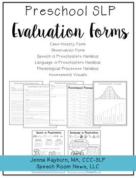 This download contains the documents that I use in order to complete the speech and language assessments for preschoolers. I use the Caseload History forms (pages 3-4) to collect parent information. Pages 5 and 6 are two different versions of the observation form.