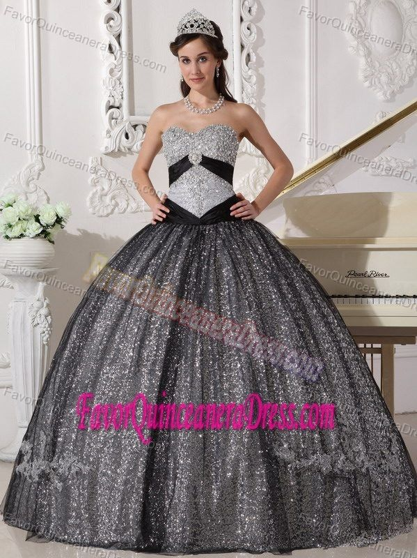 3916a55dd40 Vintage Sweetheart Silver Floor-length Sequin Quinceanera Dress with  Appliques