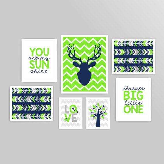Printable DIY Nursery Art Lime green Grey by KidsPrintablesDIY