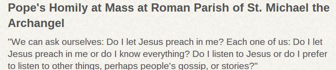 ZENIT | #PopeFrancis' Homily at Mass at Roman Parish of St. Michael the Archangel
