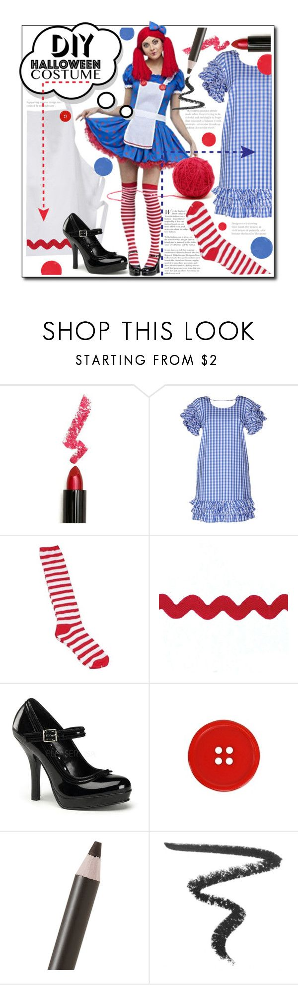"""""""DIY Raggedy Ann Halloween Costume"""" by luvfashn ❤ liked on Polyvore featuring Lime Crime, DOUUOD, Shiseido, Givenchy, halloweencostume and DIYHalloween"""