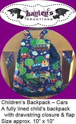 Handmade by Hayley's Creations  Children's Backpack – Cars