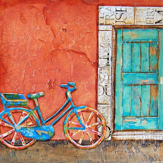 Bicycle ART PRINT or CANVAS doorway Italy bike cycling biking collage painting wall home decor vintage retro gift for her