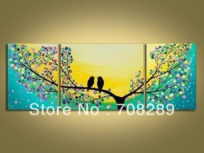 enorme cm lovebirds pintado a mano de arte de la pared