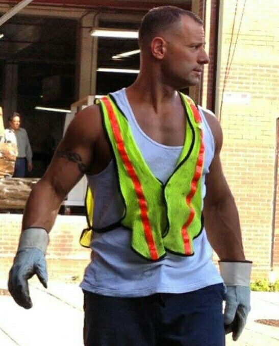 blue shirtless construction men Road collar