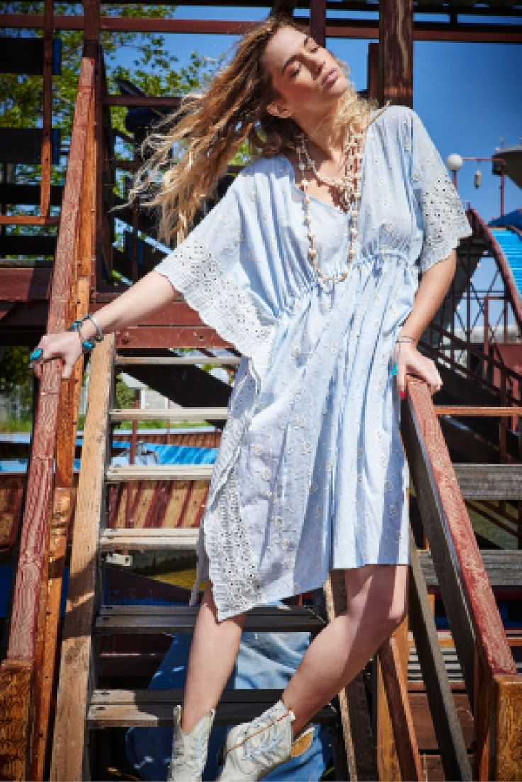 Pale blue embroidered coton kaftan by pink planet