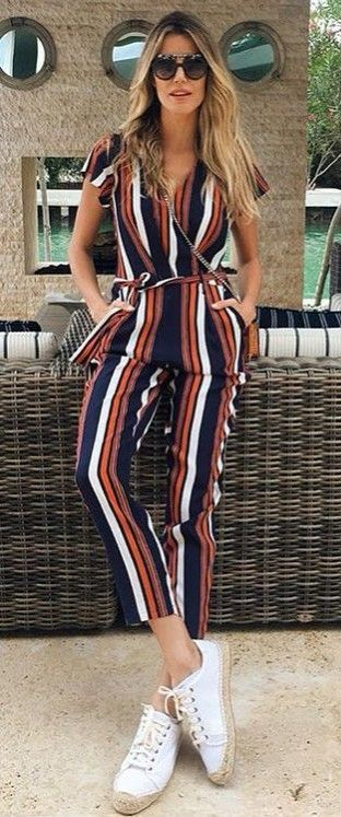 striped jumpsuit wearing with soludos sneakers