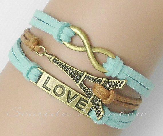Infinity love bracelet--Eiffel Tower bracelet--Antique Bronze--cute bracelet--Mint green leather bracelet--Best bridesmaid gift on Etsy, $5.99