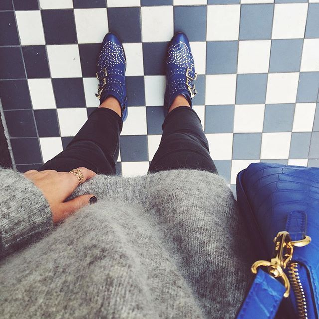 Oversized knits forever dude. Blue MCM croc handbag and blue Chloe boots.