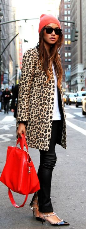 Leopard coat on white and black, with a touch of red, and gorgeous shoes