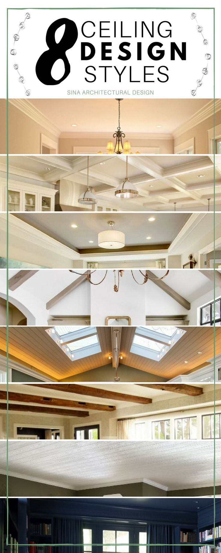Love these ceiling styles. Who says a ceiling has to be boring?! #homedesign