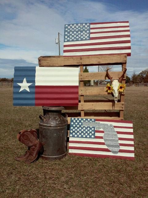 Hand Painted Corrugated Metal Flags